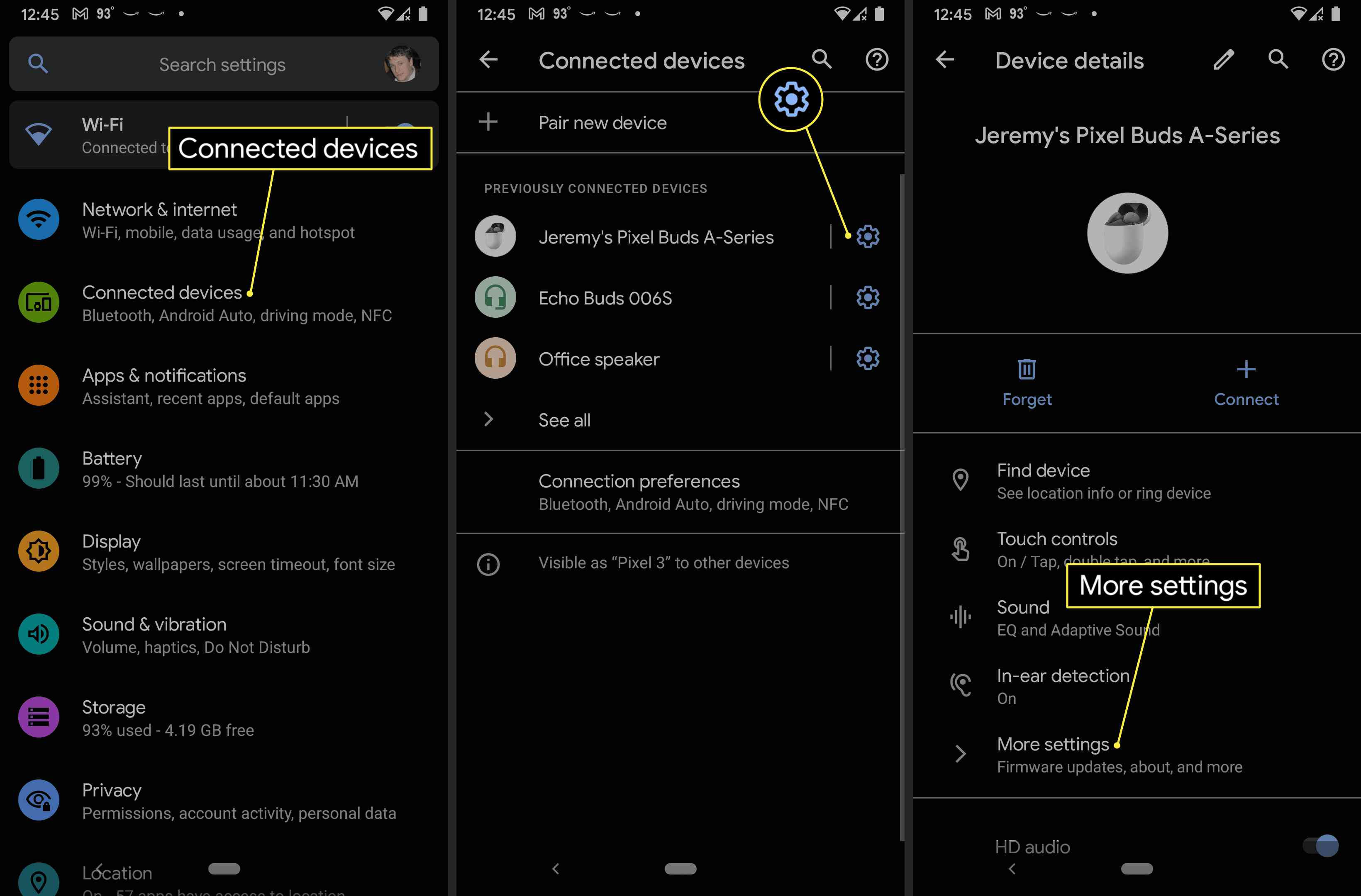 Connected devices, Settings gear, and More settings highlighted in Pixel Bud settings