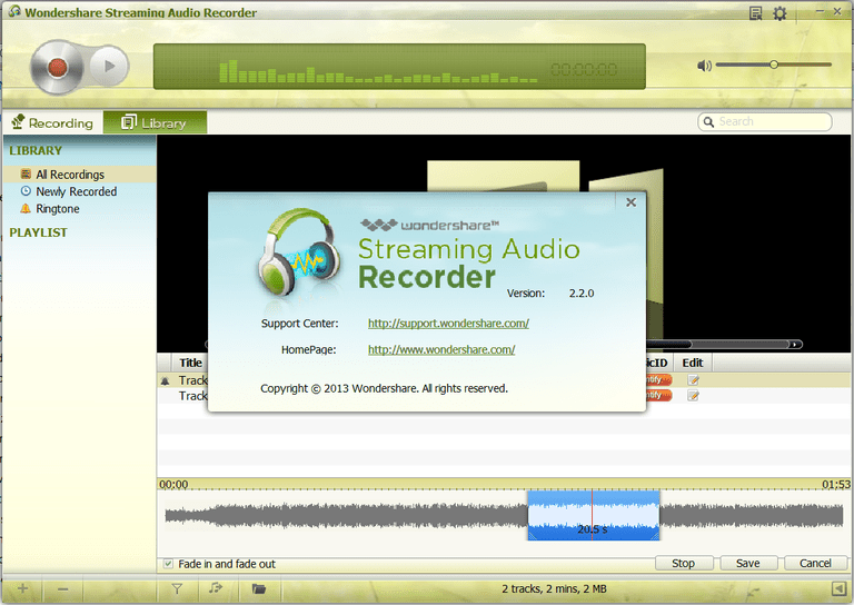 Screenshot of Wondershare Streaming Audio Recorder
