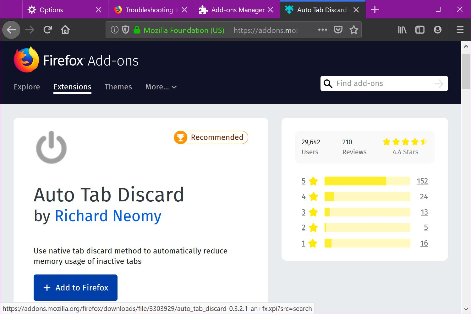 Add the Auto Tab Discard extension