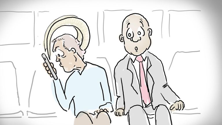 Illustration of a man with horns using a smartphone on the subway