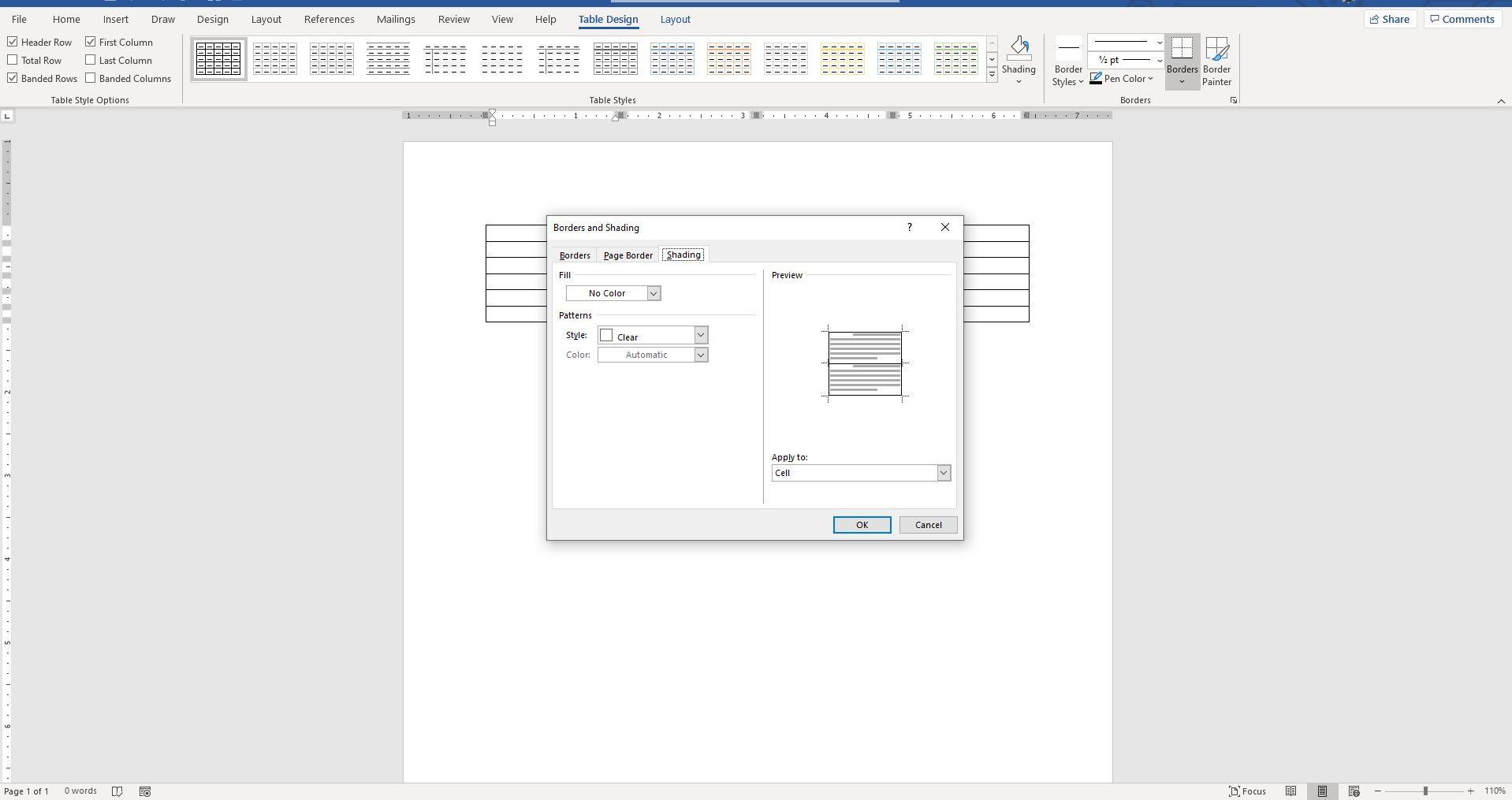 Screenshot of Shading tab on Borders and Shading dialog box