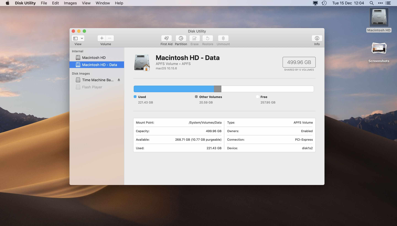 Mac Disk utility app dashboard