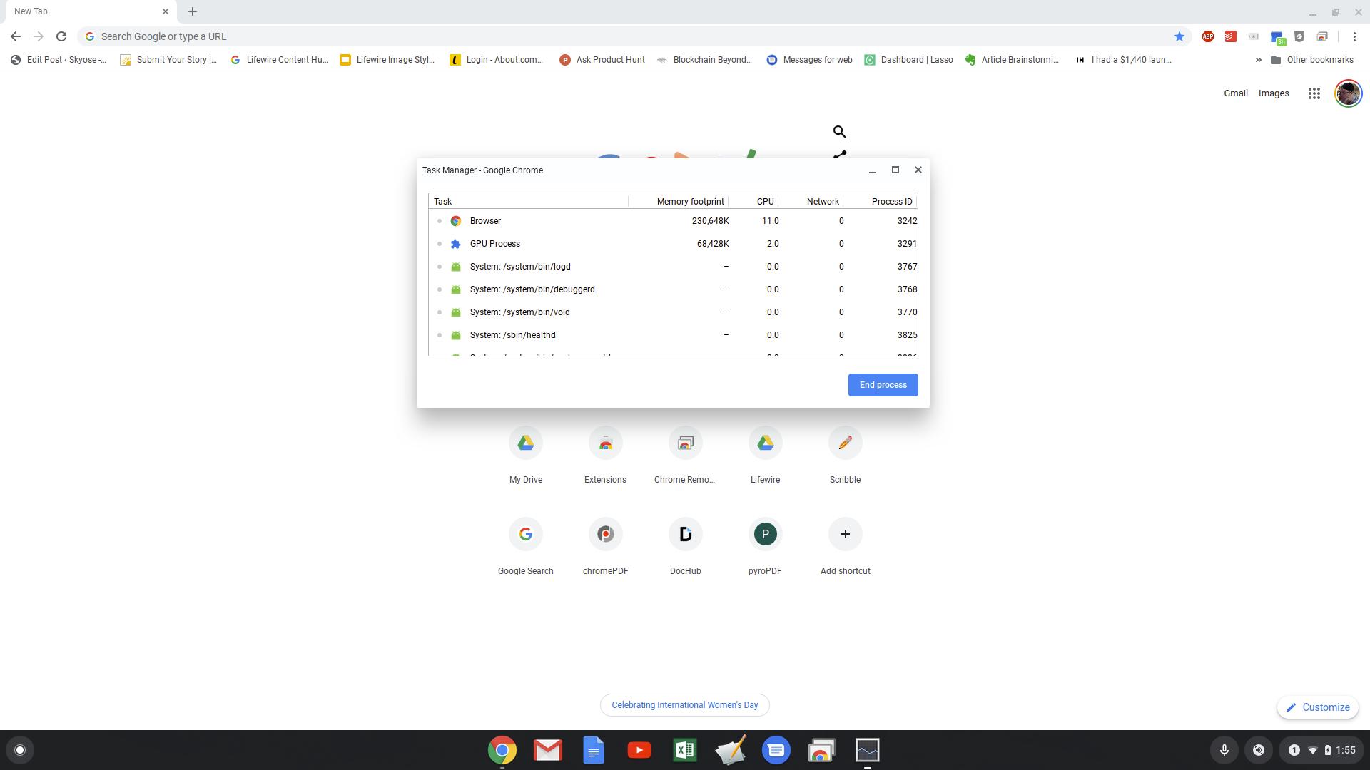 Screenshot of Chromebook task manager