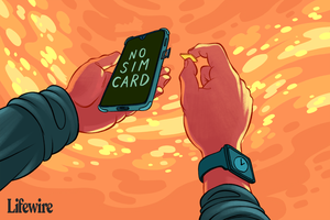 Illustration of someone taking the SIM card out of their iPhone for Apple Watch on Android