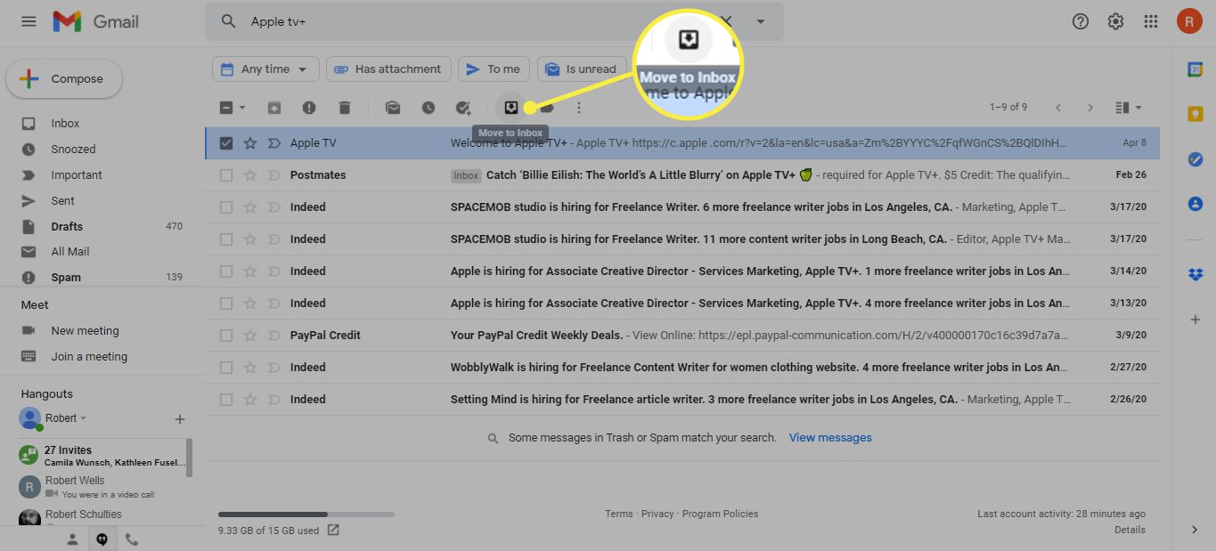 Gmail with the Move to Inbox button highlighted