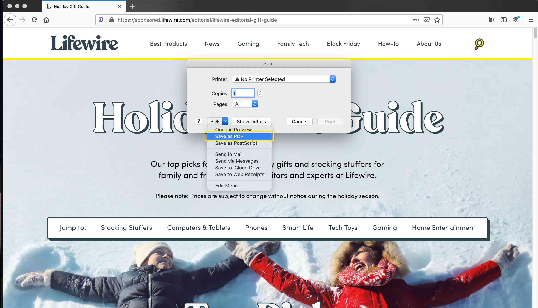 Firefox save as PDF