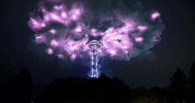 The Seattle Space Needle with a virtual, purple storm over it