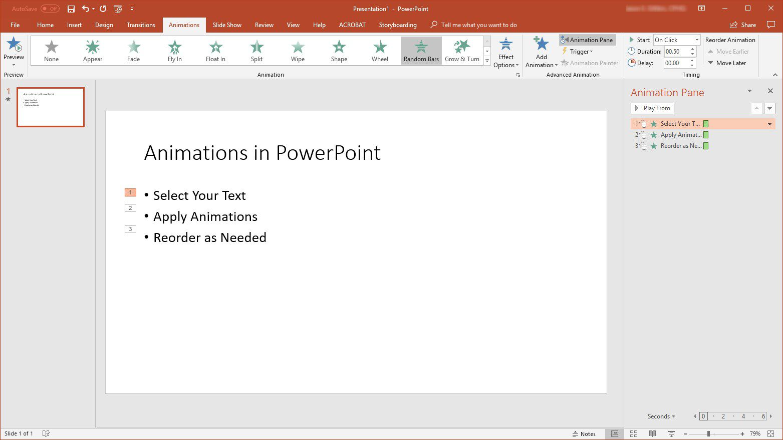 change order of animations for powerpoint slides