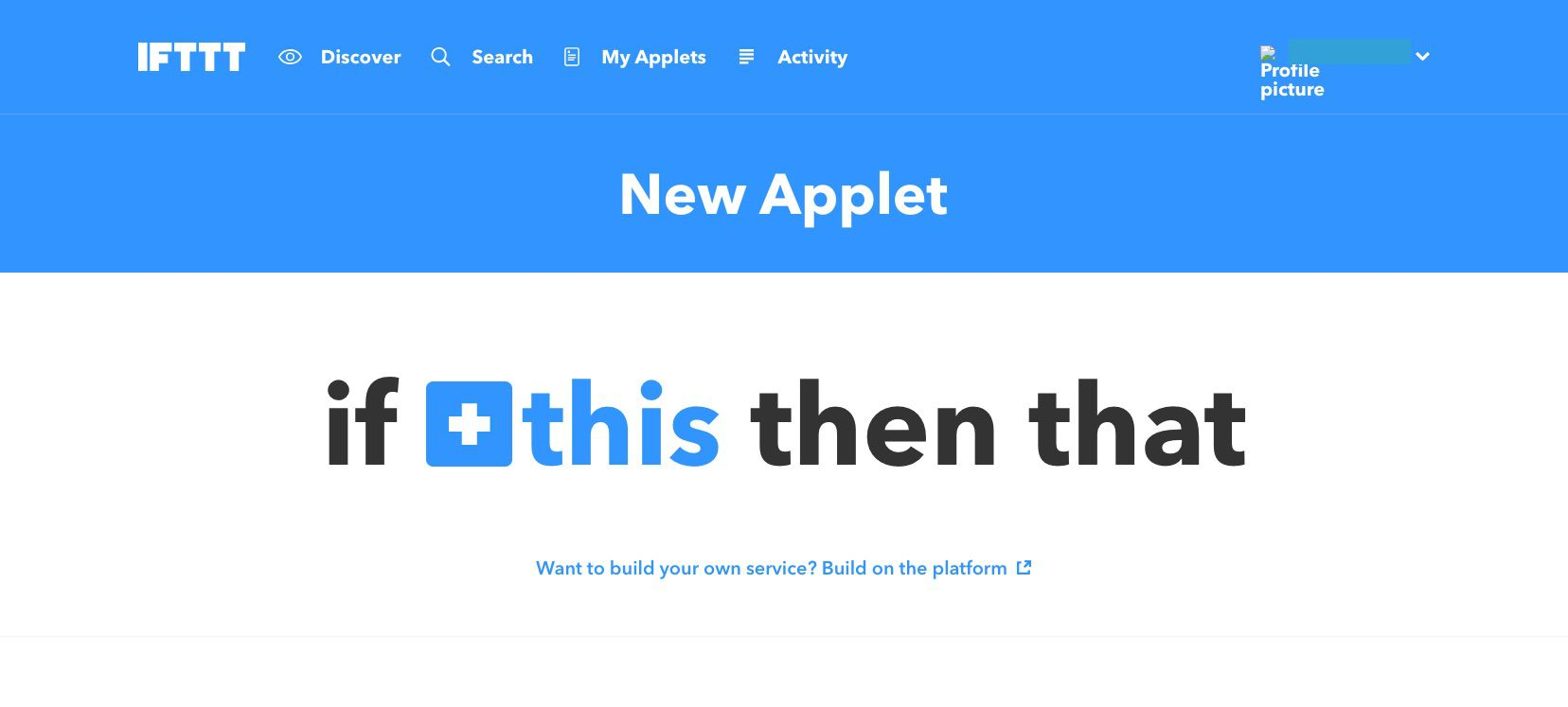 A screenshot of IFTTT.com.