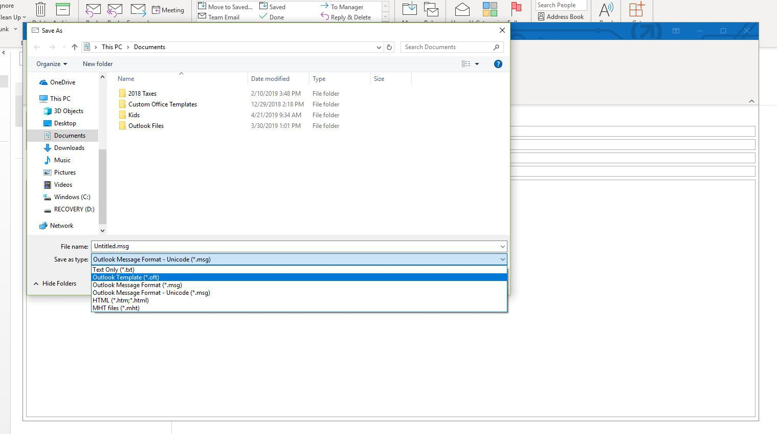 Screenshot of Save as Template in Outlook
