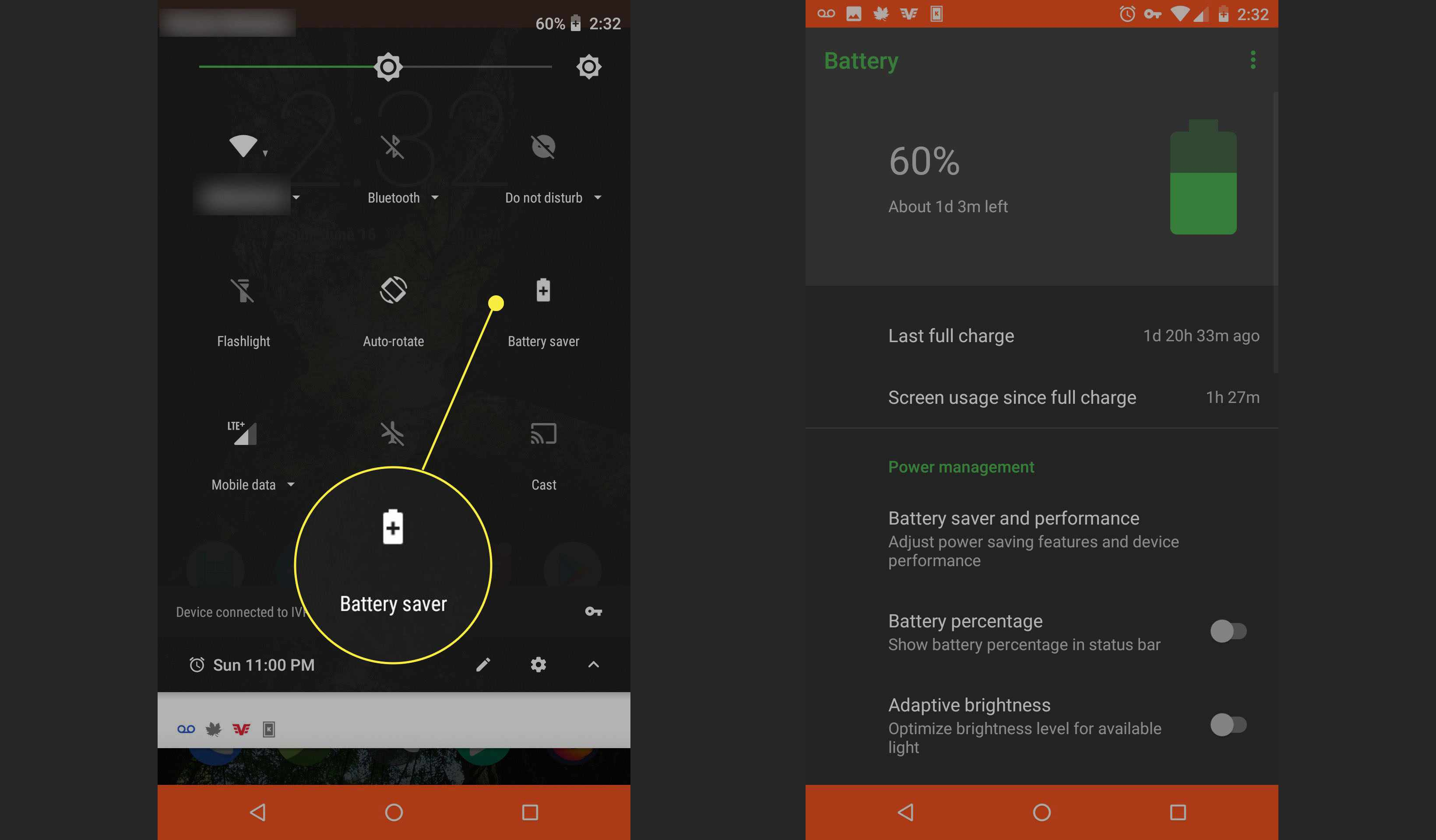 Android quick settings battery