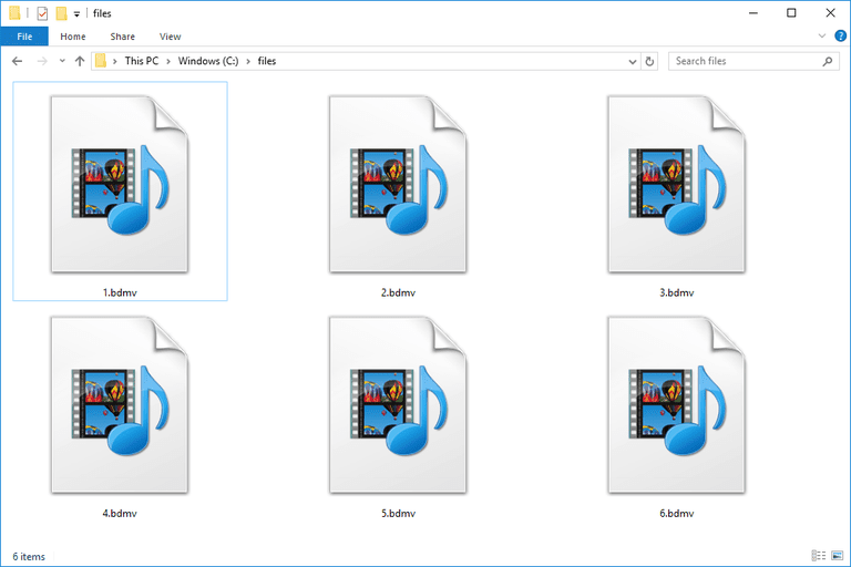 Screenshot of several BDMV files in Windows 10