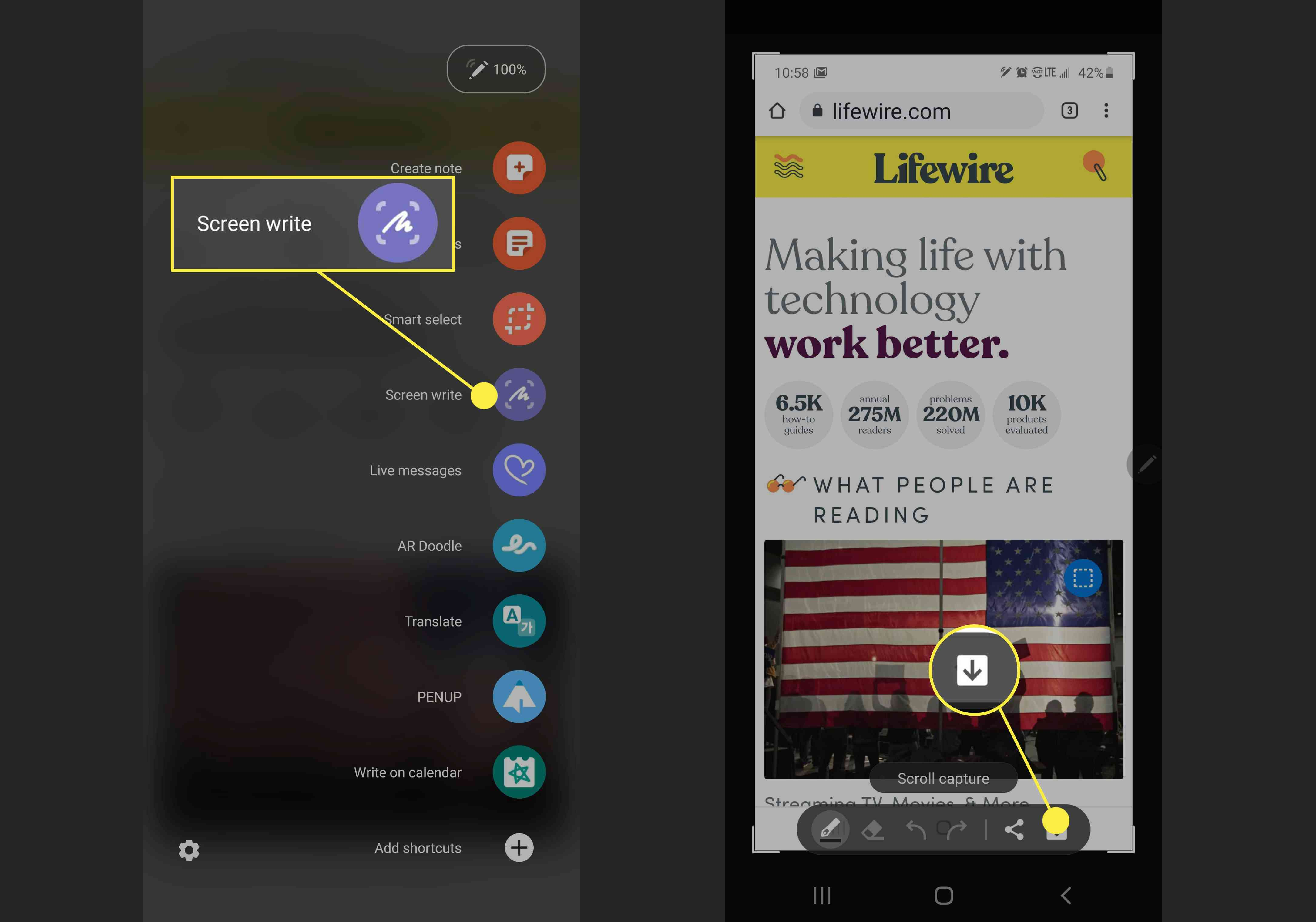 Screenshots showing how to use Screen write to take a screenshot on Galaxy Note 10 and 10+