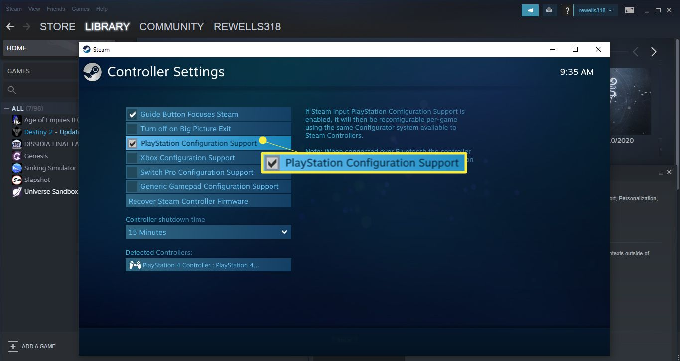 Select the box beside PlayStation Configuration Support.