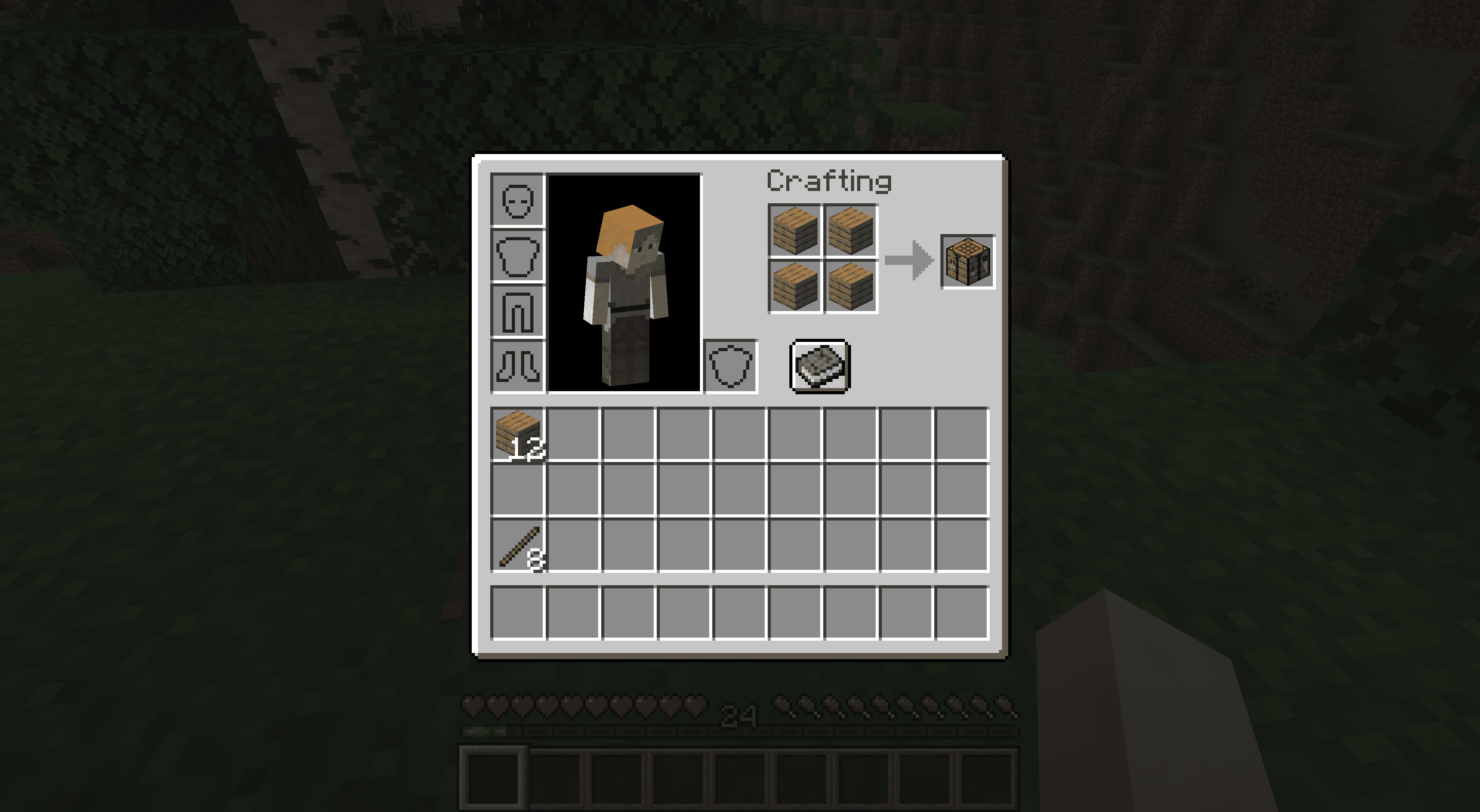 Making a crafting table in Minecraft.