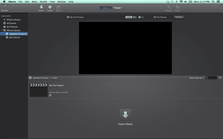iMovie 10 Opening Screen