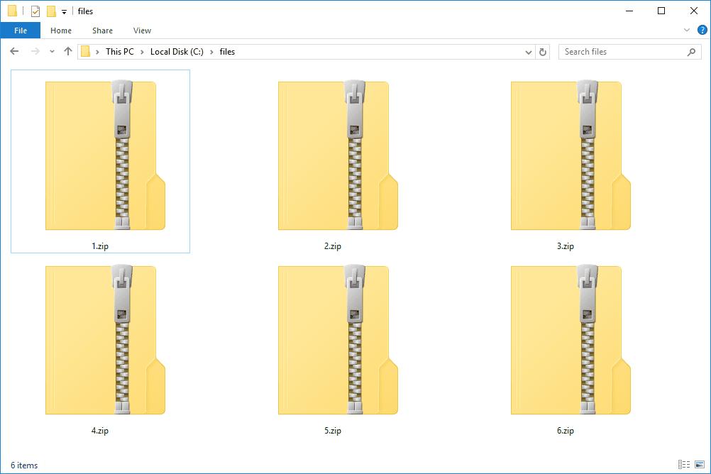 Six ZIP Files in a grid in Windows 10 Explorer