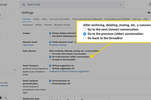 Auto-advance options in Gmail for web