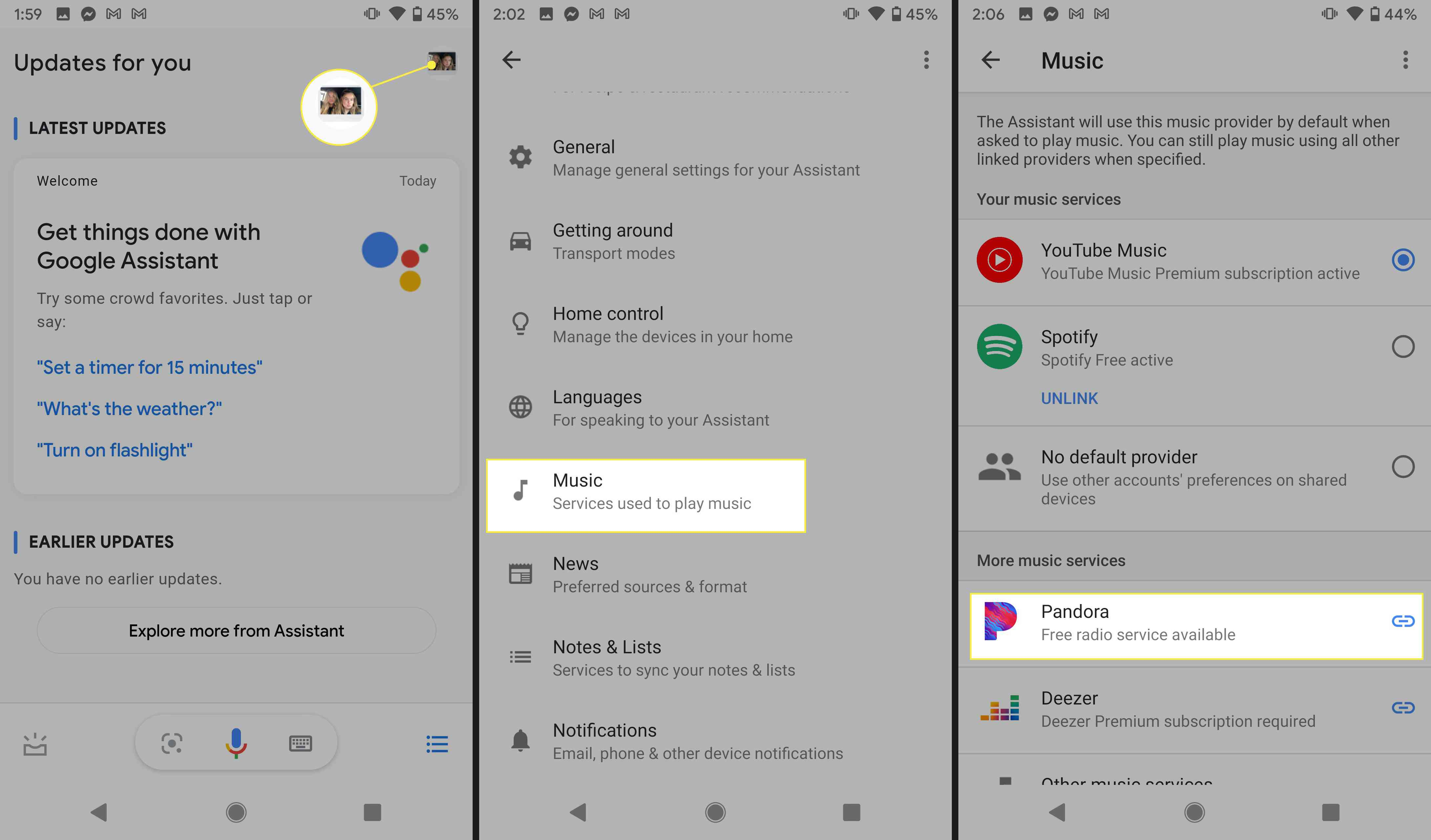 Link a new music service in Google Assistant