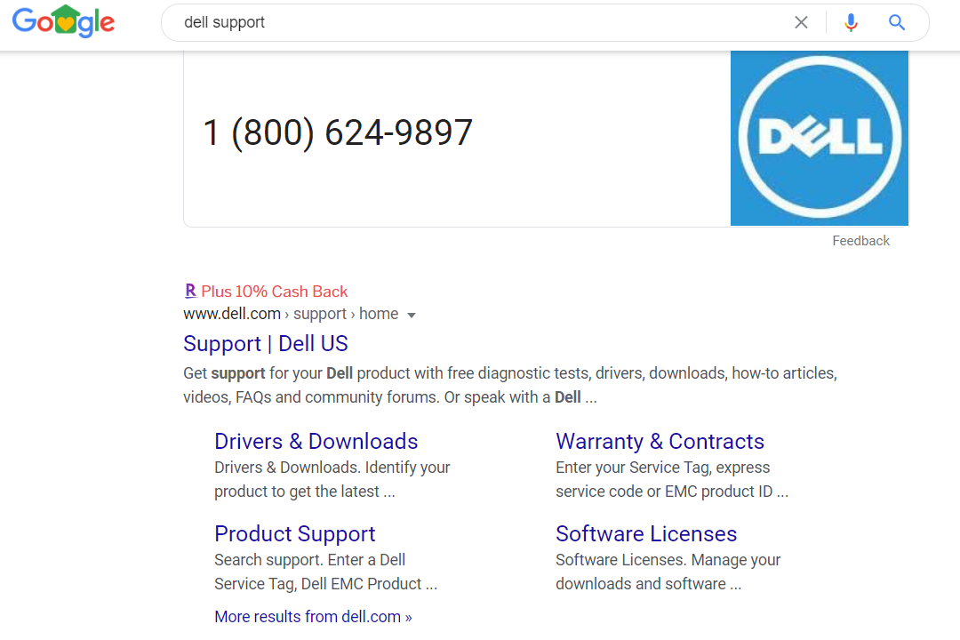 Dell support search results on Google