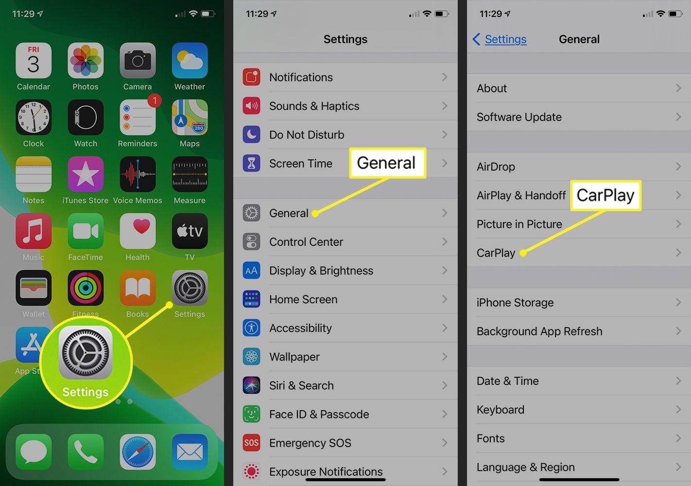 iPhone path to CarPlay selection