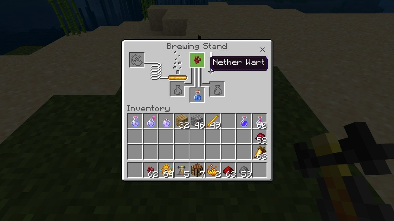 Add the Nether Wart to the top box of the brewing menu.