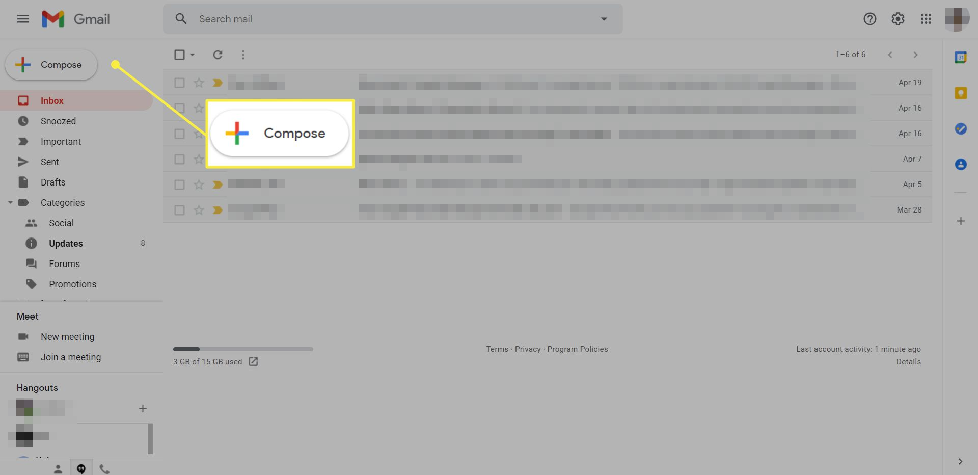 A Gmail inbox with the Compose icon highlighted