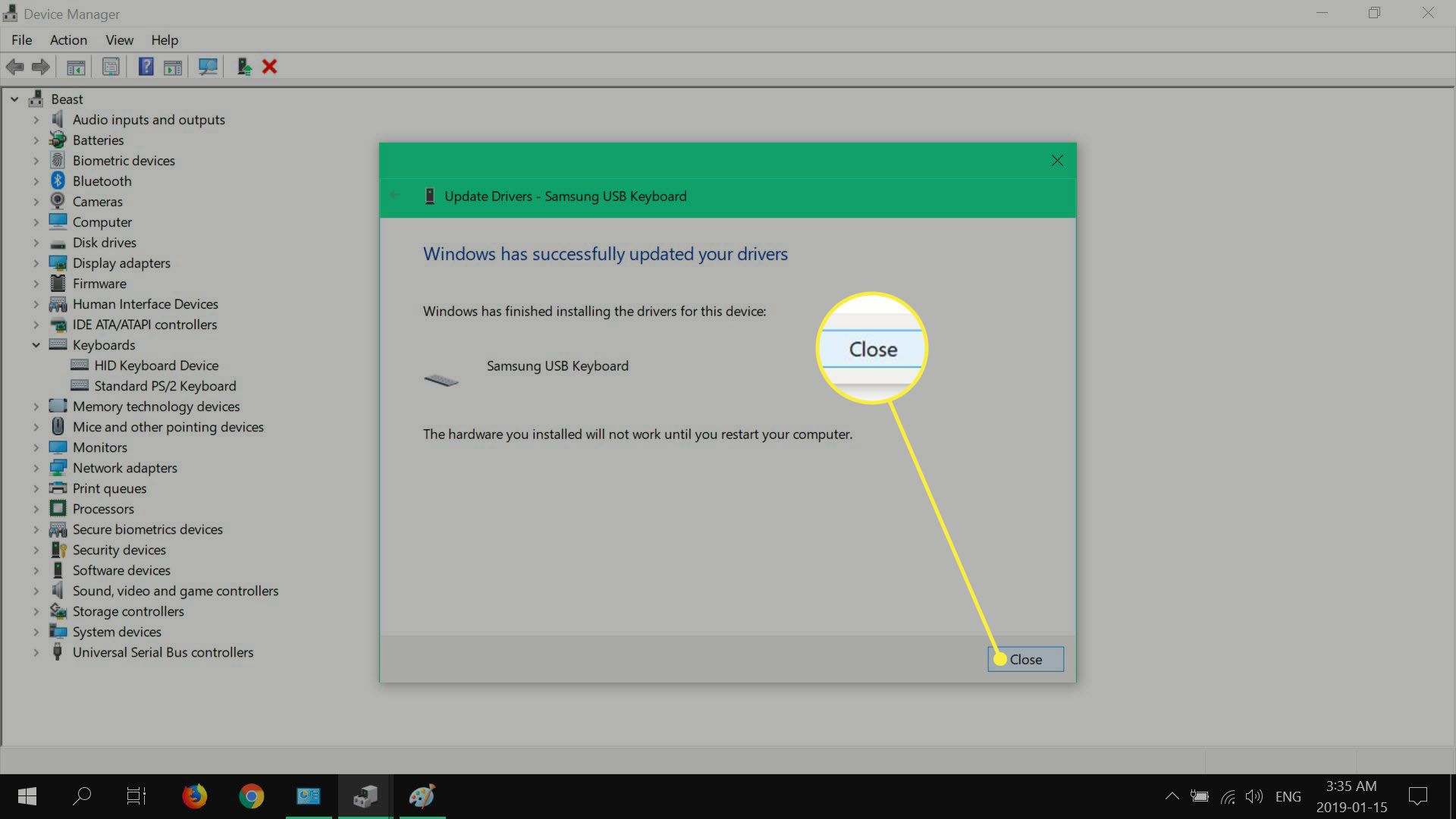 Confirming the installation of a driver in Windows 10.