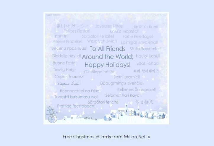 a christmas ecard in different languages - Merry Christmas In Different Languages List