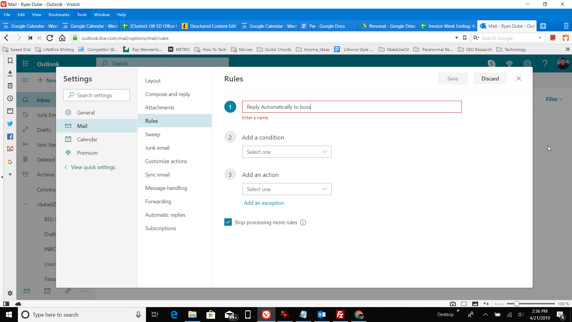 Screenshot of naming a rule in the Rules window