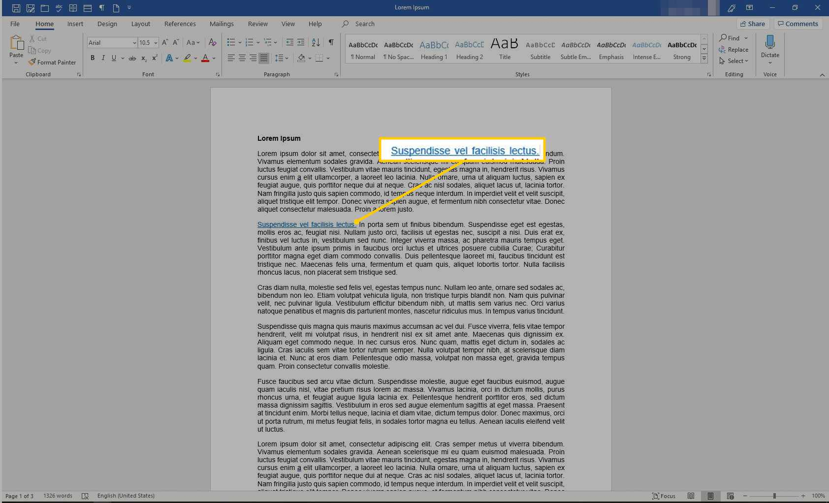Linked text in Word