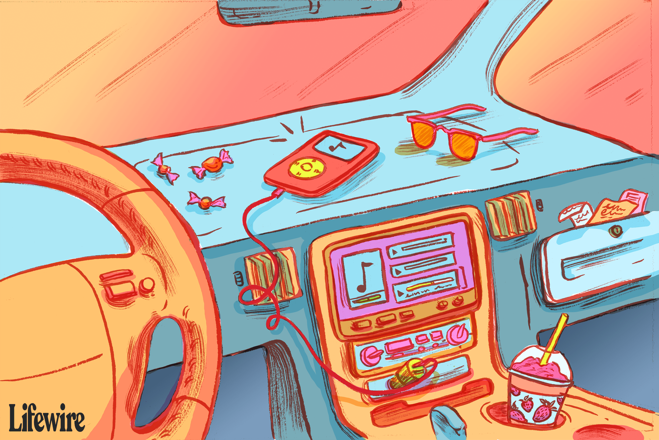 Illustration showing an iPad connected to a USB port in an older car