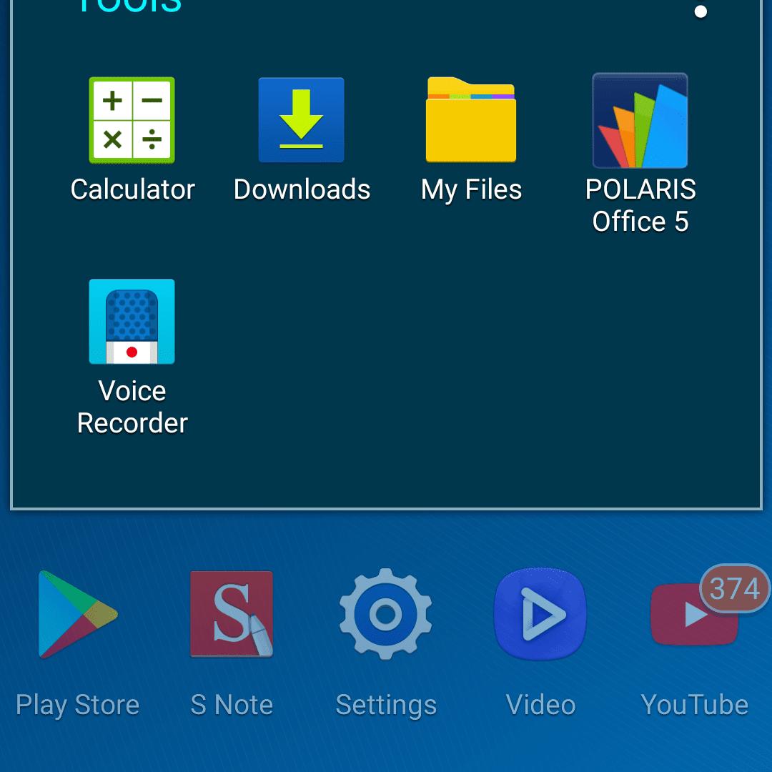 tools folder on android app tray