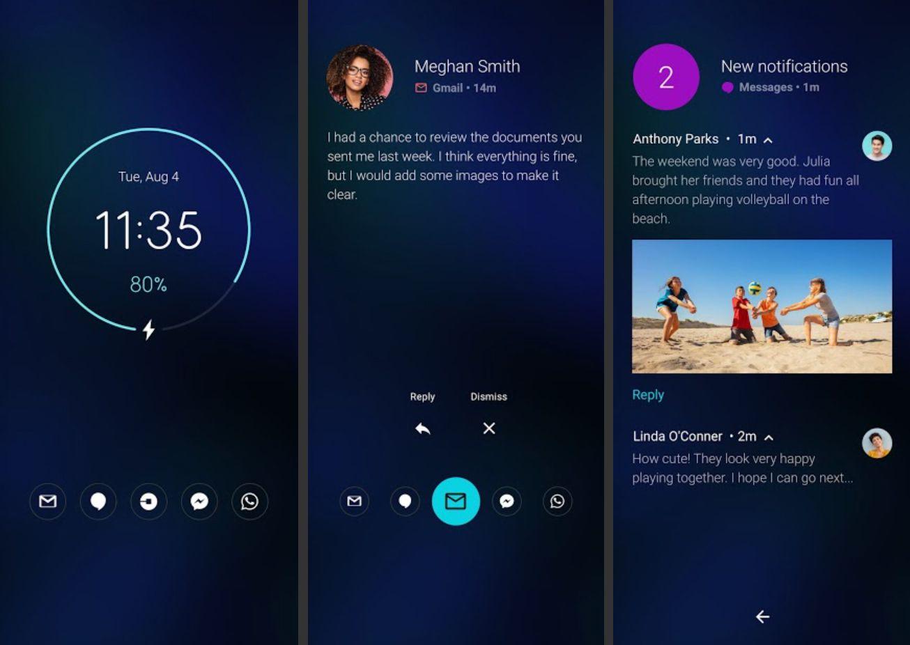 Moto Display app on Motorola phone showing notifications