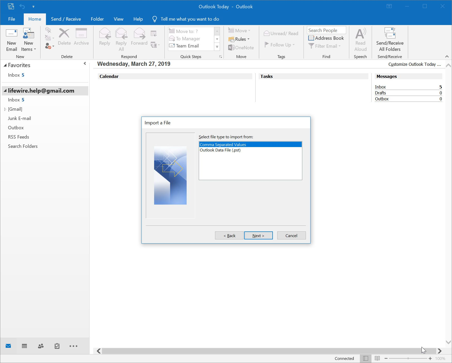 Importing a File window with Comma Separated Values selected in Outlook 2016