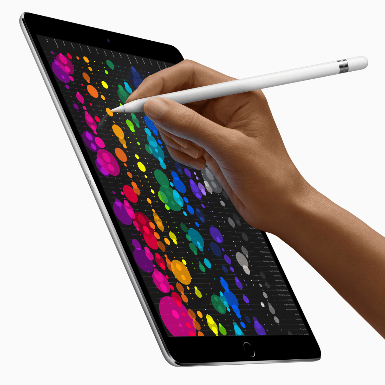 A person draws on the 12.9-inch iPad Pro with a stylus