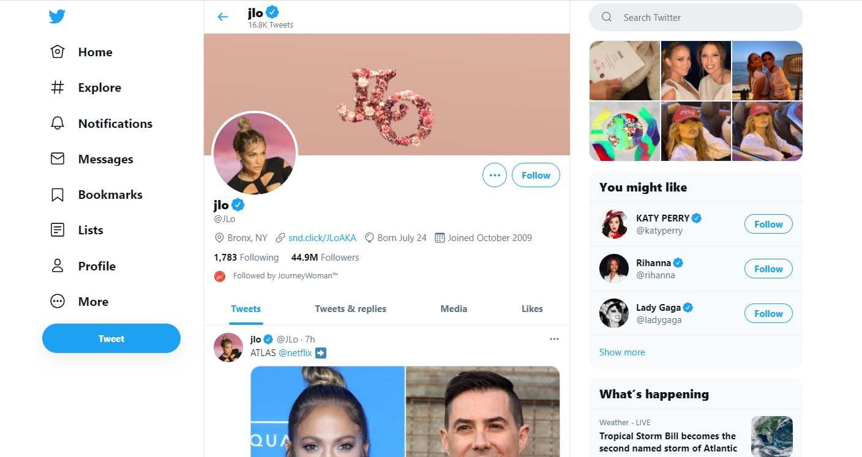 Jennifer Lopez's Twitter account