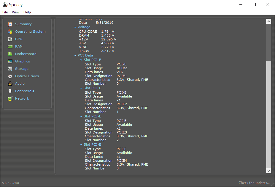 Speccy motherboard details