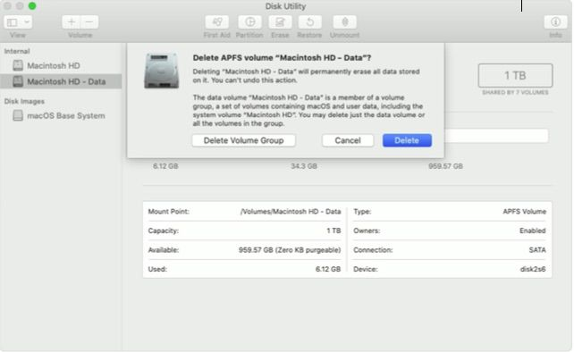 deleting Mac hard drive in Catalina
