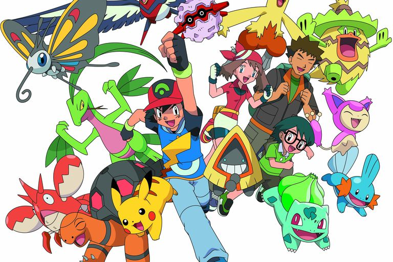Ash, May, Brock, Max and their Hoenn Pokemon in Pokemon Season 9: Battle Frontier