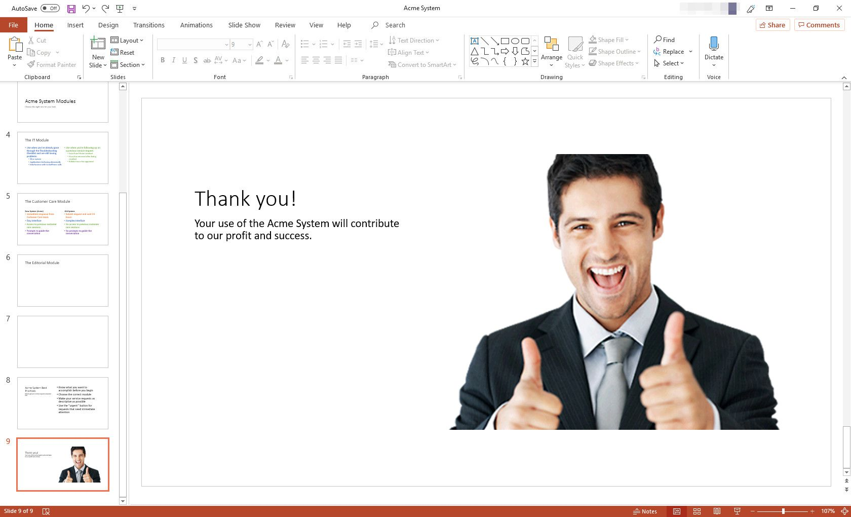 MS PowerPoint presentation with Picture With Caption slide layout displayed