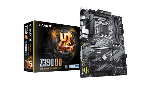 Product shot of the Gigabyte Z390 UD motherboard and box