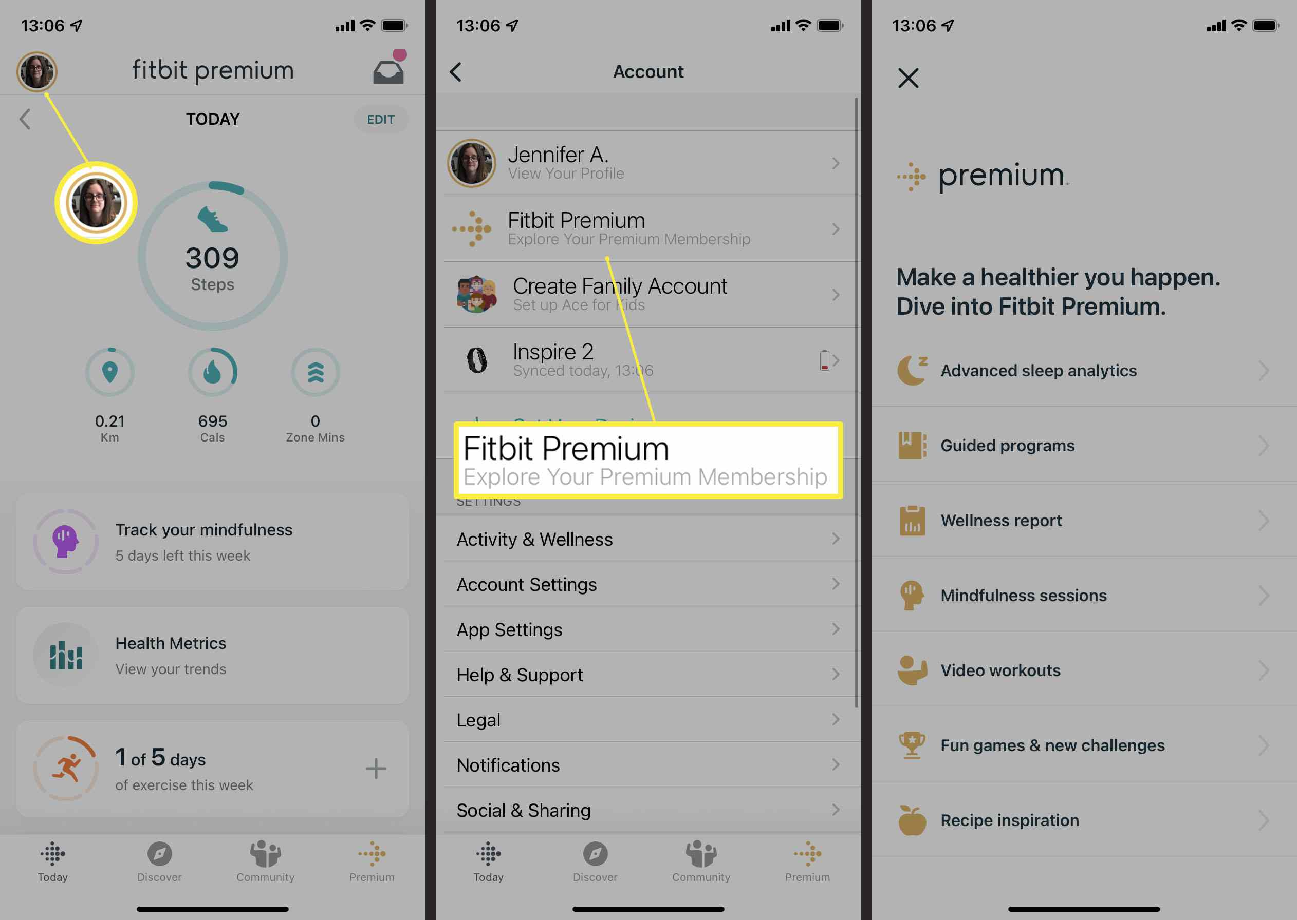 Fitbit App with Fitbit Premium highlighted.