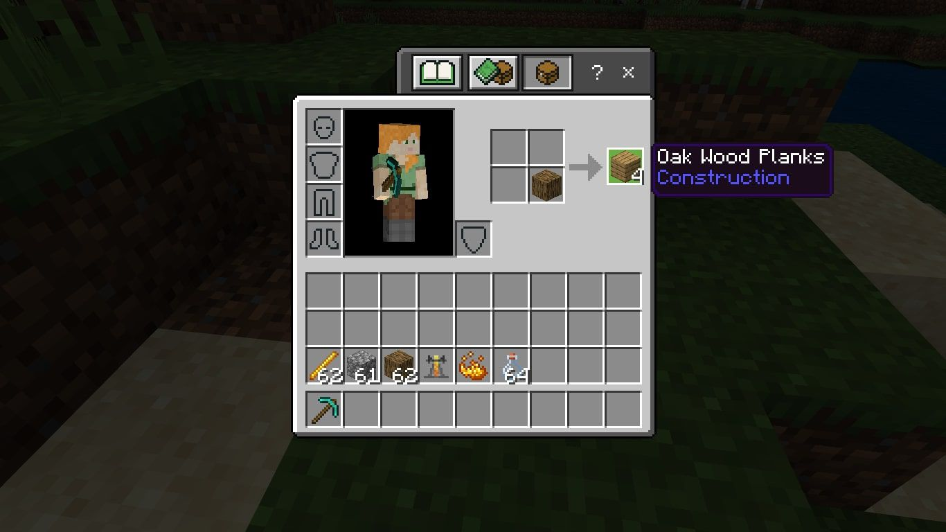 Place a block of Wood in the 2X2 crafting grid to craft 4 Wood Planks