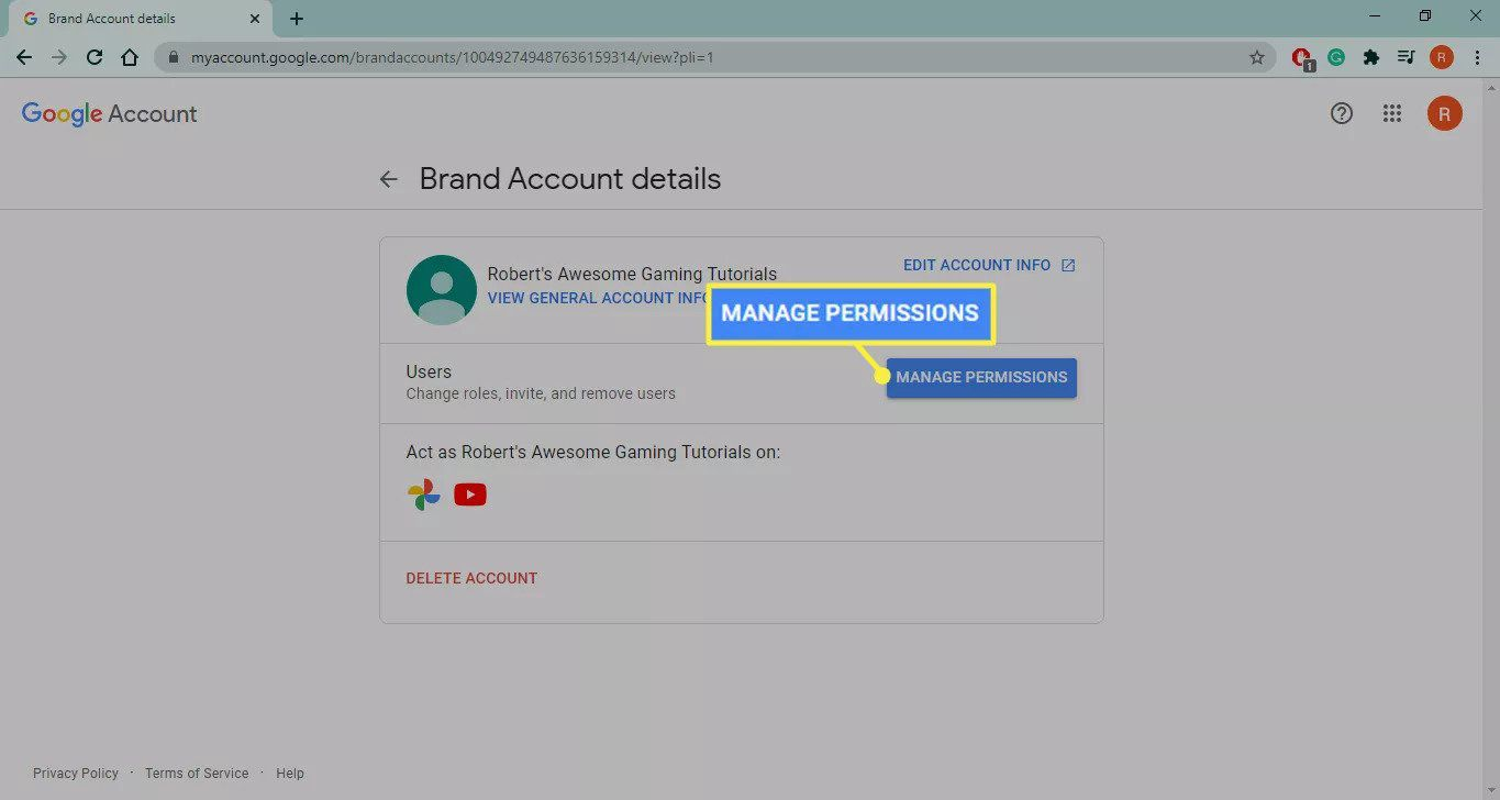Manage Permissions in YouTube Brand Account details