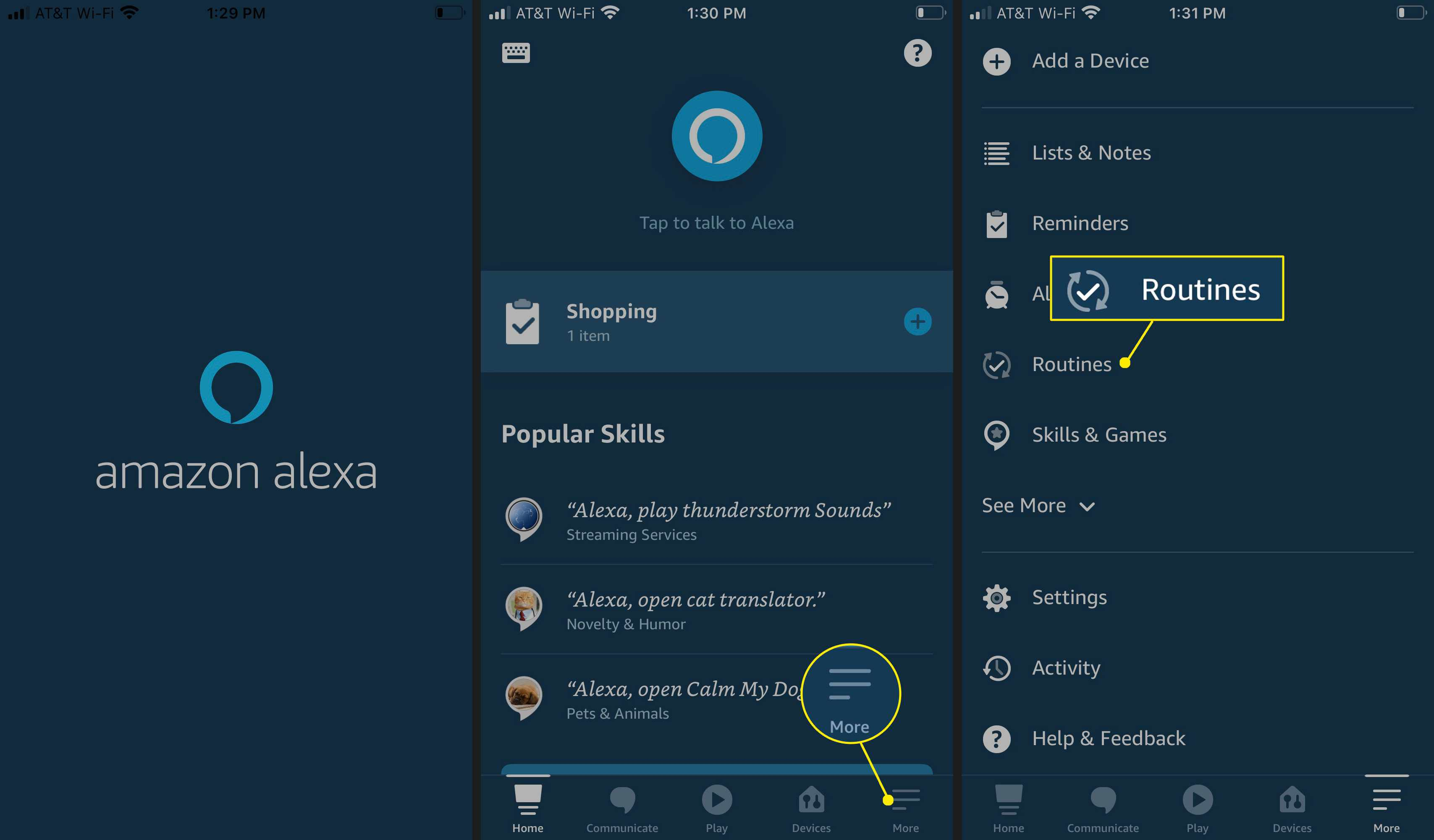 In the Amazon Alexa app, select More > Routines