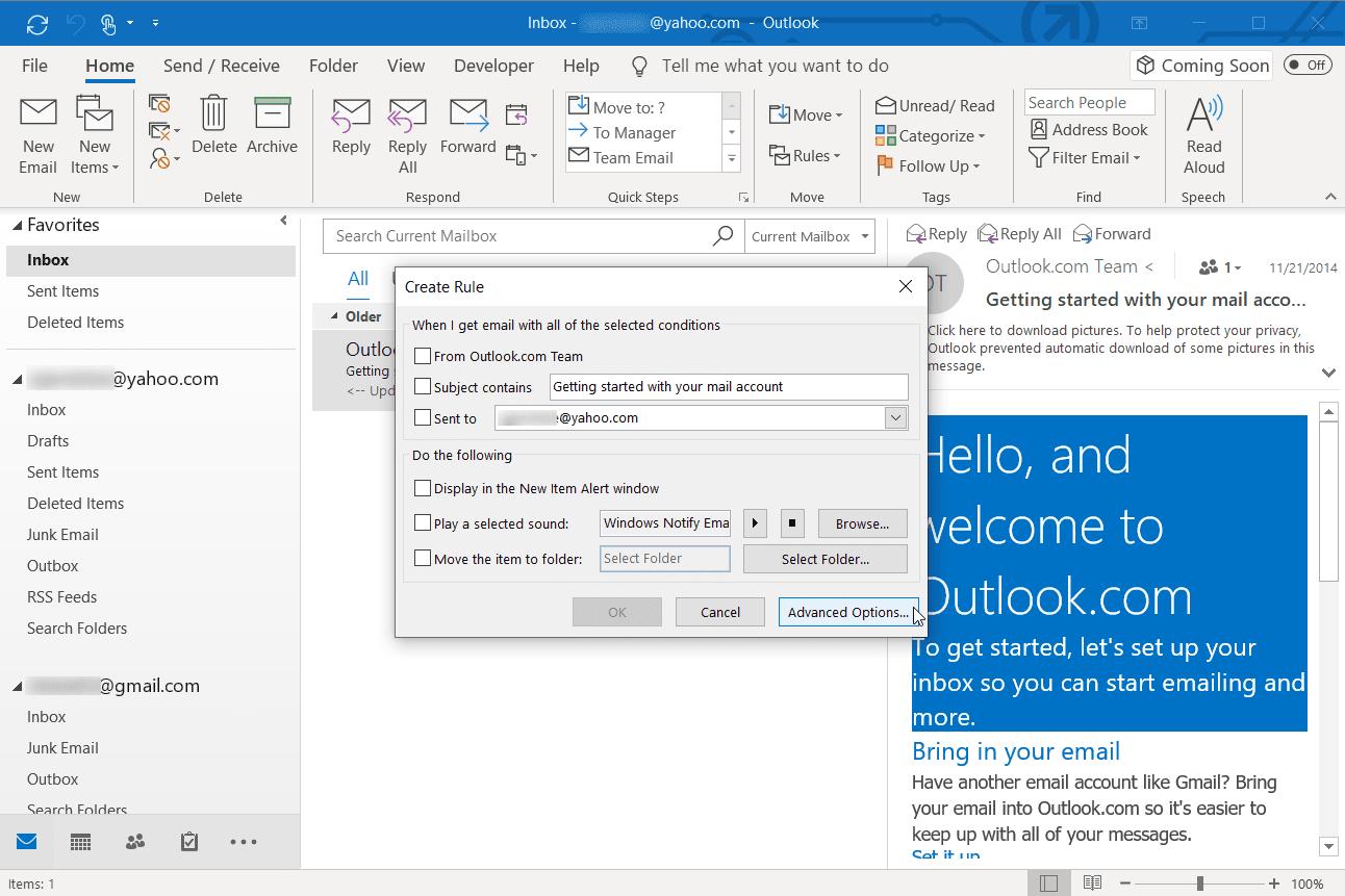 Screenshot of selecting Advanced Options in Outlook desktop