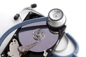 Hard drive wrapped with stethoscope