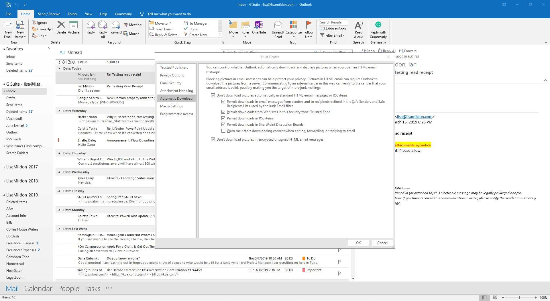 automatic download of pictures in outlook