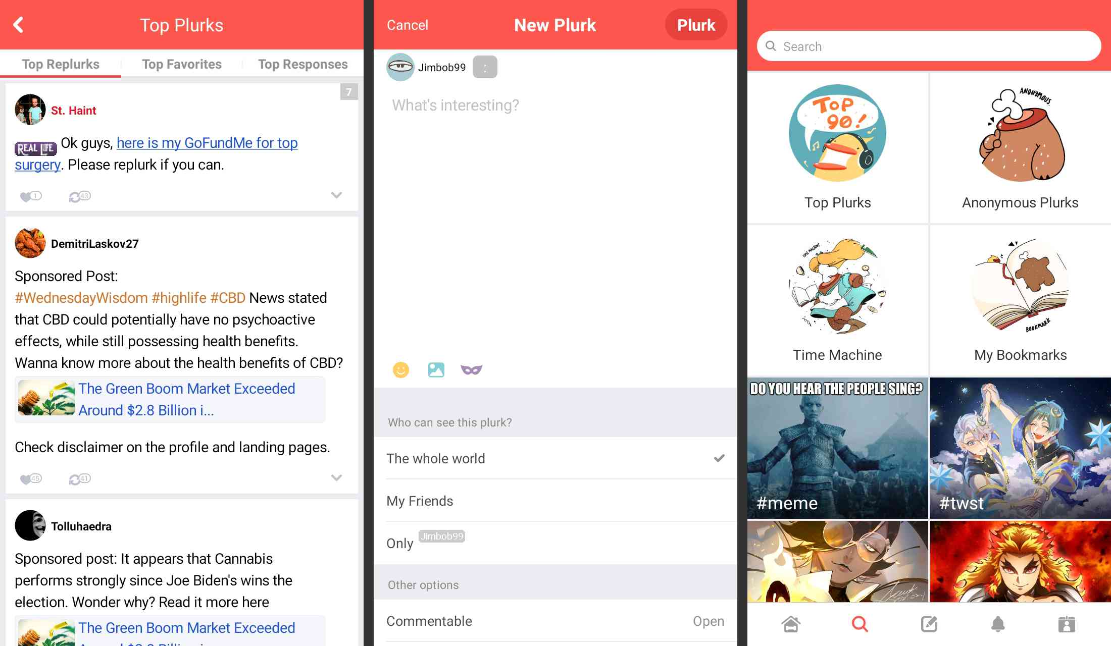 Plurk social network app for Android